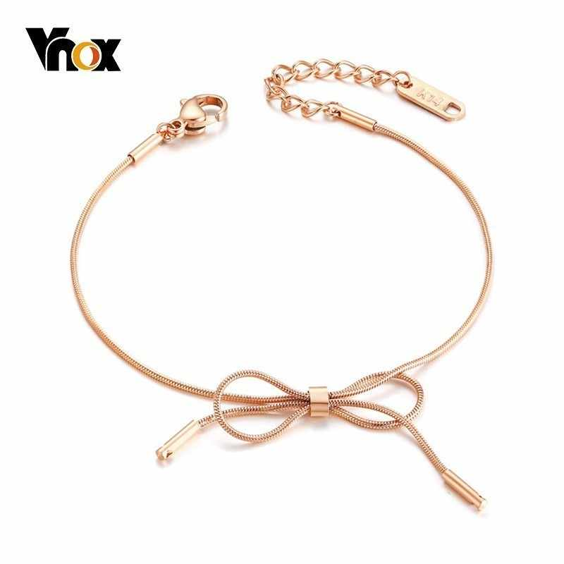 Vnox Temperament Bowknot Charm Bracelet for Women Pink Gold Color Stainless Steel Elegant Female Party Street Wear Ornaments