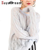 Women Pullovers Mohair knitted O neck Feather Sweater For Women 2018 FALL Winter Drop Shoulder Fashion knitwears