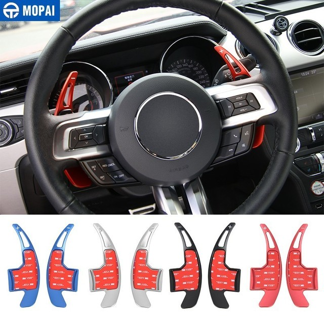 MOPAI Aluminum Alloy Car Steering Wheel Gear Shifters Paddle Decoration Cover Sticker for ford Mustang 2015 2016 Car Accessories