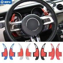 MOPAI engranaje de volante para coche, aleación de aluminio, decoración de paletas, pegatina para ford Mustang 2015 2016, accesorios para coche