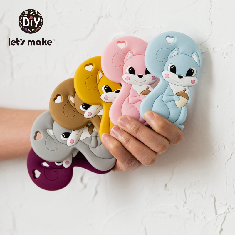 Let's Make Baby Teether Animals Tiny Rod Squirrel Cartoon Safety Standard Teething Food Grade Silicone Teether 10pc Patent Owner