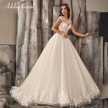 Ashley Carol A-Line Illusion Wedding Dress 2019 Scoop