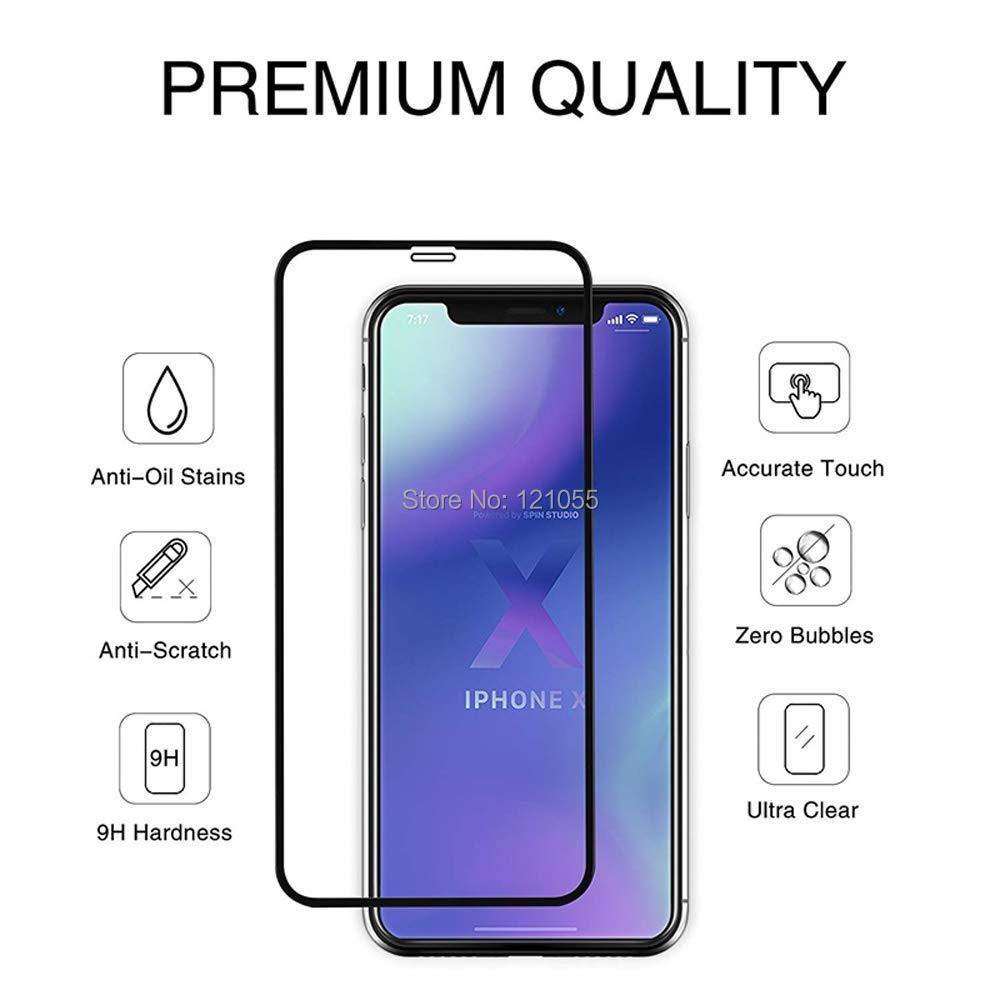 Protective Full Cover Film Glass For iPhone XS Max XR X 8 7 6 6S Plus 5s Tempered Glass Screen Protector 1000pcs/lot wholesale