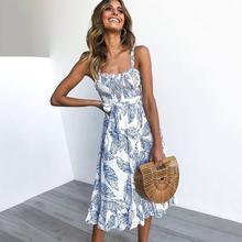 e0eef32d04dca7 Sexy Strand Kleid Frauen Backless Elegante Boho Sommerkleid Mode Blatt  Drucken Gürtel Mädchen Schwarz Süße Casual Chic Sommer Gu.