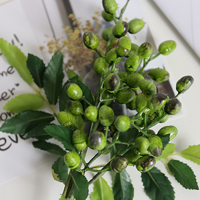 Artificial Olive Fruit Bean Branch Flowers
