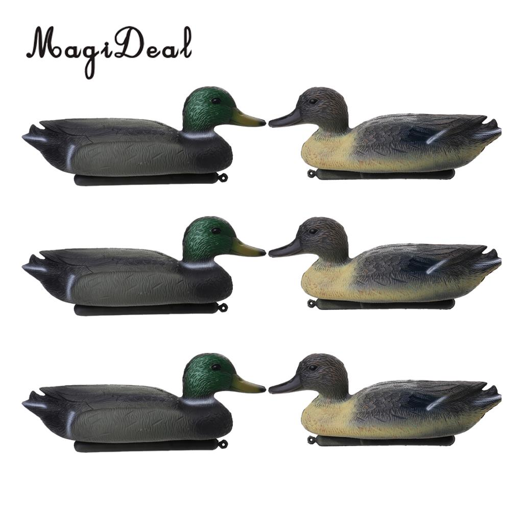 MagiDeal 6 Pcs Fishing Hunting Male Decoy Plastic Duck Decoy Drake W/ Floating Keel Hunting Decoy For Hunting Fishing Access