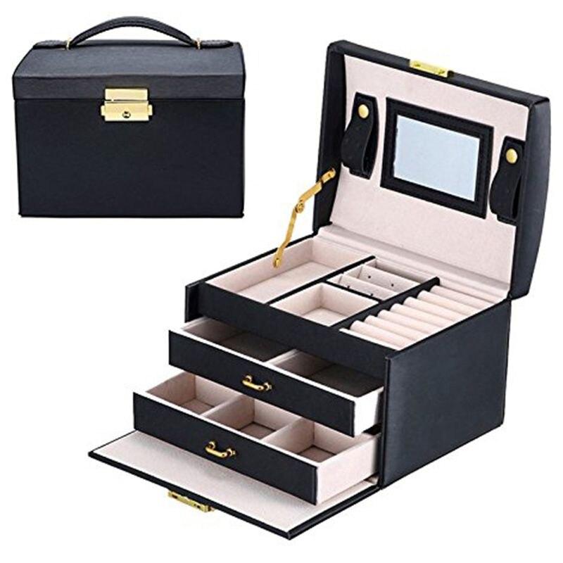 Caixa de jóias/caixas/caixa de cosméticos, jóias e cosméticos beleza caso com 2 gavetas 3 camadas