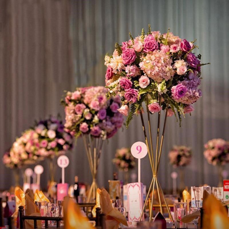 10Pcs/Lot Flower Vases Floor Metal Vase Plant Dried Floral Holder Flower Pot Road Lead for Home/Wedding Corridor Decoration G111-in Vases from Home & Garden    1