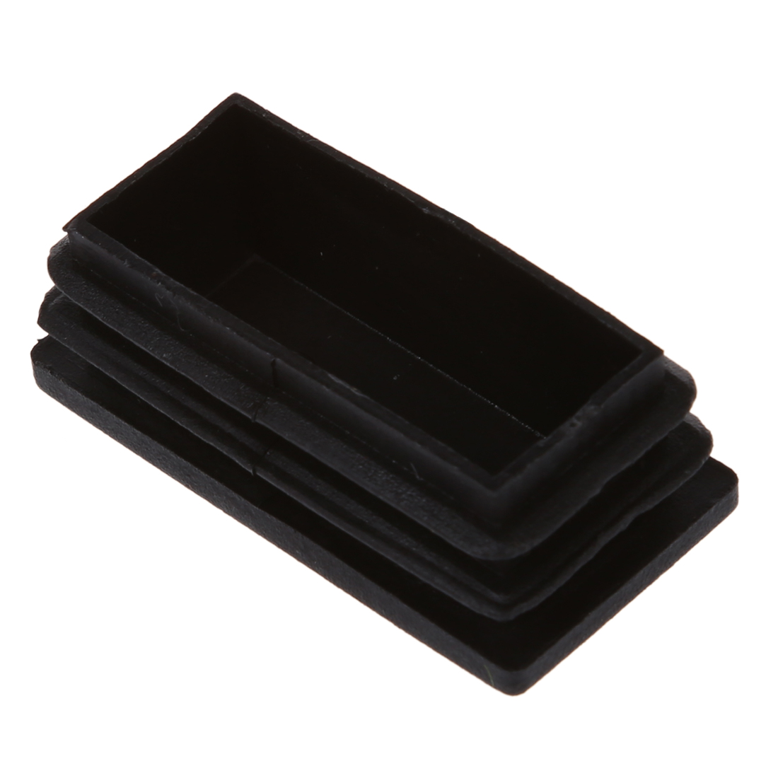Promotion! Plastic Rectangle Tube Inserts End Blanking Cap 25x50mm Black10 Pcs