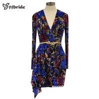Серунт дизайн v образный вырез цвет полностью платье для вечеринок с бусинами Роскошные Длинные рукава сексуальные мини выше колена караме