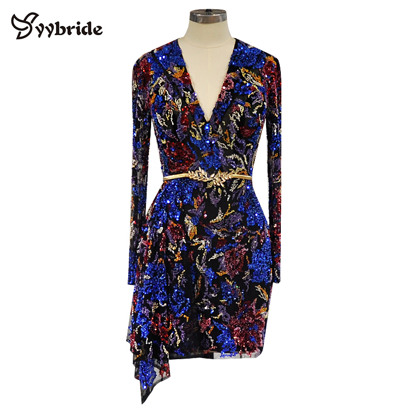 Surmount Design V-Neck Colorfully Beading Party Dresses Luxury Full Sleeves Sexy Mini Above Knee Candy Color Cocktail Dresses