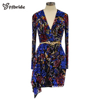Surmount Design V Neck Colorfully Beading Party Dresses Luxury Full Sleeves Sexy Mini Above Knee Candy Color Cocktail Dresses