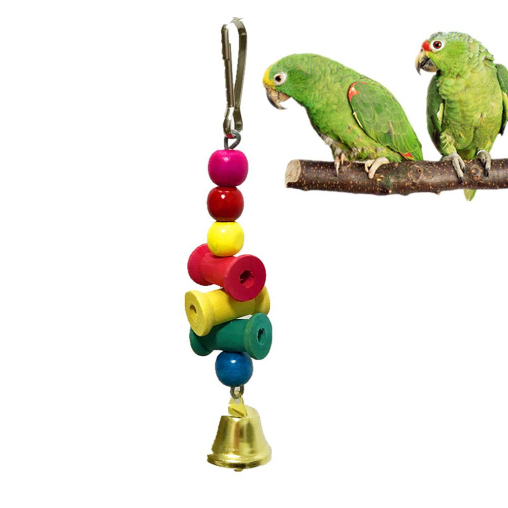AsyPets Colorful Blocks Bell Chew Toy Hanging Pendant For Pet Parrot Cage