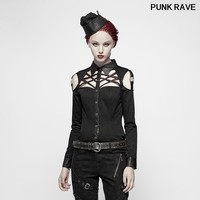 Punk Cross Design Streetwear Shirt fashion Handsome Military Black Long sleeved Twill Hollow out Women blouse PUNK RAVE Y 979