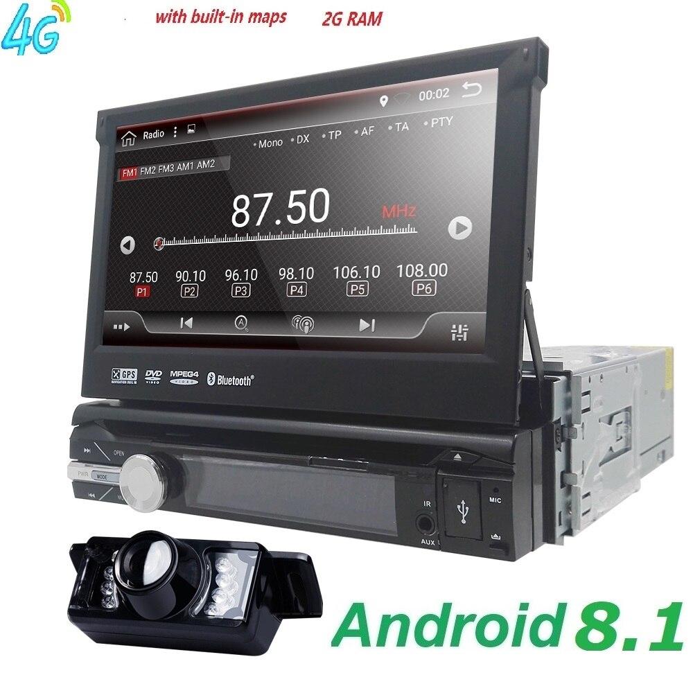 1din Autoradio Android lecteur multimédia Autoradio 1 Din 7 ''écran tactile GPS Bluetooth FM WIFI lecteur audio automatique micro stéréo dab