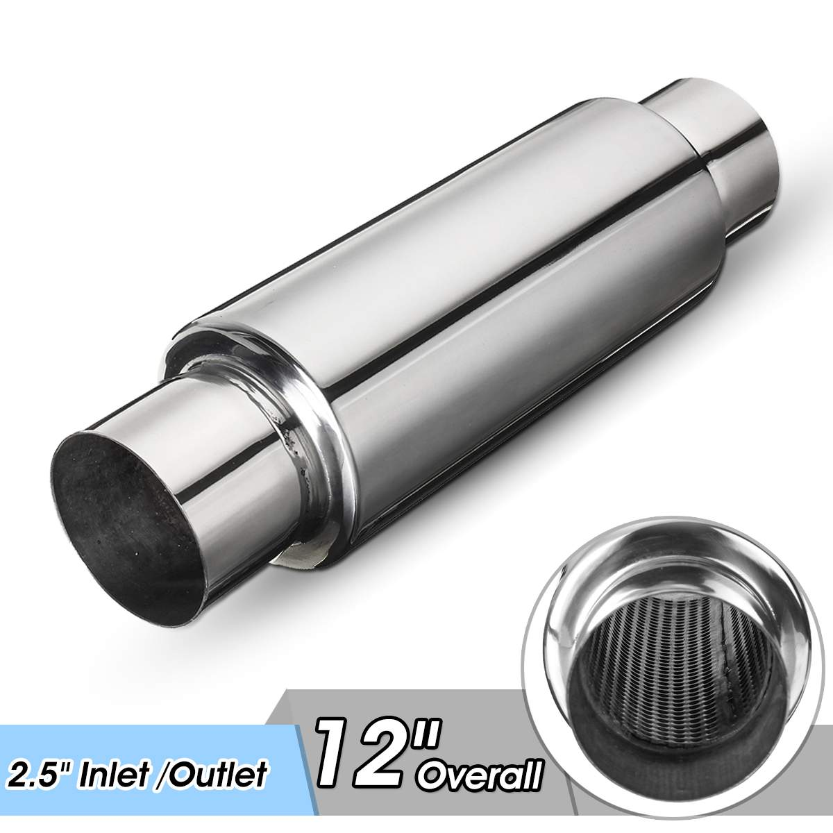 2x 60mm Inlet Universal Car Exhaust Tail Rear Muffler Tip Pipe Chrome Straight