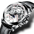 Швейцарские часы Бингер  мужские роскошные Брендовые Часы  сапфировые светящиеся часы  мужские механические наручные часы Moon Phase  B1189-2