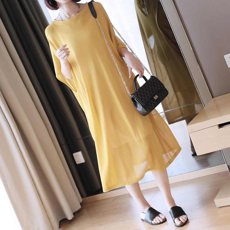 LANMREM/2019 Новое весенне-летнее свободное вязаное платье с рукавами «летучая мышь» и круглым вырезом большого размера удобная модная одежда с короткими рукавами QF259