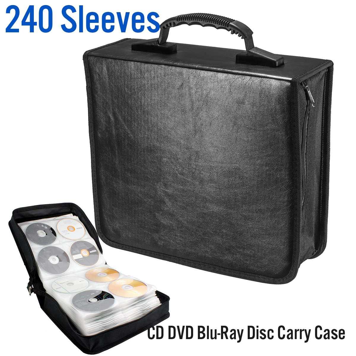 Disc CD DVD Case Storage Bag Album Collection Holder Box Carrying Organizer Disc Blu-Ray DJ Storage Wallets PU Leather 240pcs