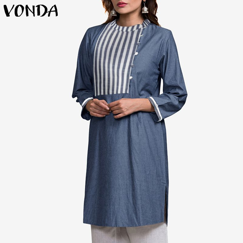 VONDA Women Elegant Blouse 2019 Casual Nine Quarter Sleeve Stripe Patchwork Long Tops Shirt Ladies Autumn Spring Blusa Plus Size