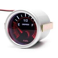 2'' 52mm Automotive Petrol Motor Car Truck Fuel Gauge Fuel Level Meter with Fuel Sensor Red LED E 1/2 F Pointer 12V