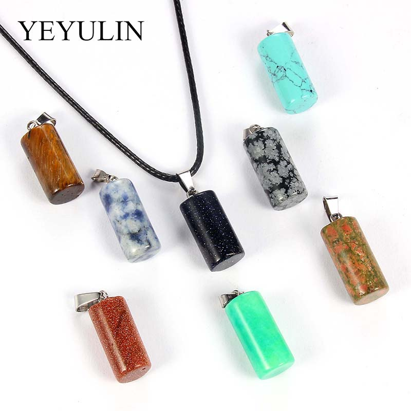 Assorted Natural Stone Cylindrical Pendants Charm Pendulum Crystal Fluorite Opalite Obsidian Chakra Necklace Component 10Pcs/lot