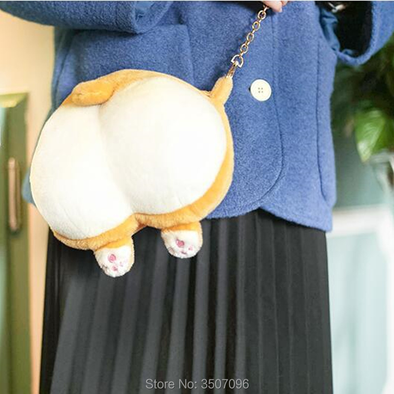 Lolita Kawaii Bag Shiba Inu Corgi Butt Funny Messenger Bag Anime Doge Creative Gift For Girls Boy Lover Plush Small Bag Purse