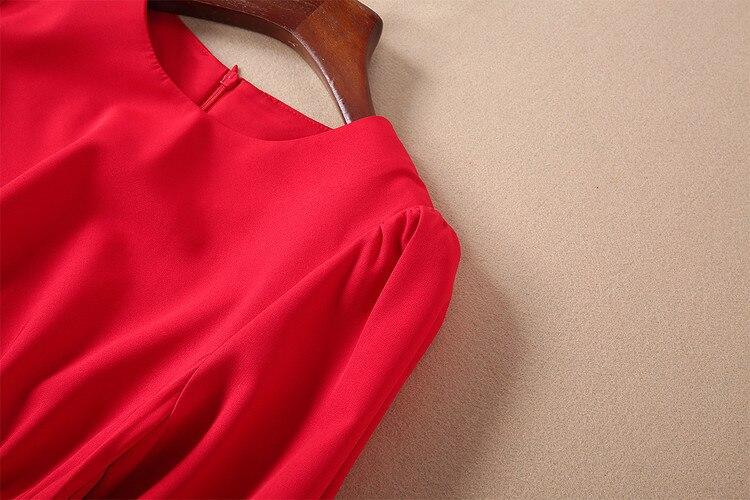 Manches noir Bureau Décontracté Piste Fête Ruches Élégant Simple Été Robes De Rouge Designer Lanterne 2019 Printemps Robe RBqBUwY1
