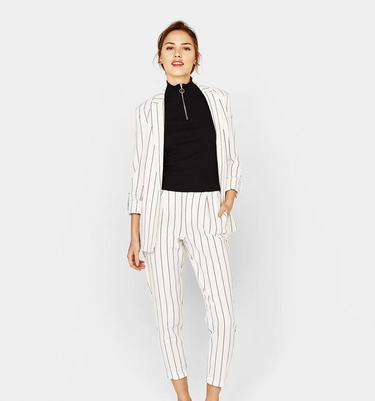 Fashion Work P Ant Suits 2 Piece Set Women Striped Blazer Jacket Trouser Office Lady Suit Feminino