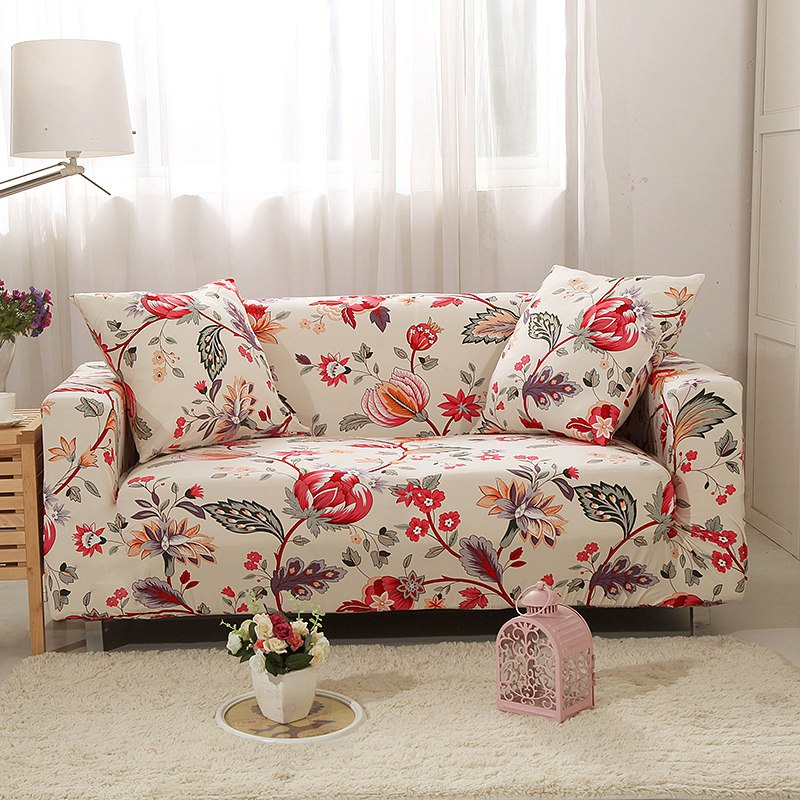 Us 18 78 40 Off Flexible Couch Sofa Cover Cute Red Black Flower Print Spandex With Free Cushion Case Elastic Stretch Linen In