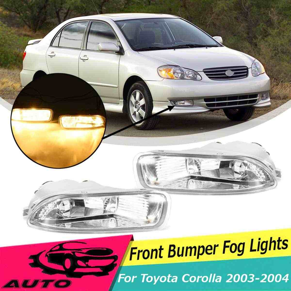 1 Pair Fog Light For Toyota Corolla 2003 2004 Car Bumper Lamp Clear Lens With Bulb High Brightness  Replacement 81200-02060