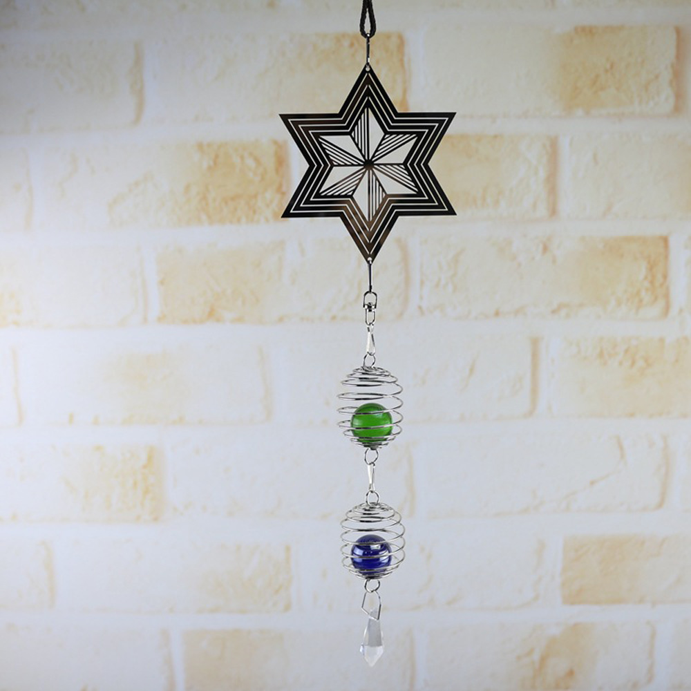 3D Metal Hanging Wind Spinner Chime With Helix/Spiral Tail Ball Center New