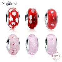 Suplush 100% 925 Sterling Silver Pink/Red Effervescence Murano Glass Bead Fit Original Pandora Charm Bracelet Authentic Jewelry Beads