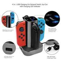 ALLOYSEED 4 in 1 USB Charging Dock Station For Nintend Switch NS Joy-Con Handle Controller Gamepad LED Charger Stand Holder