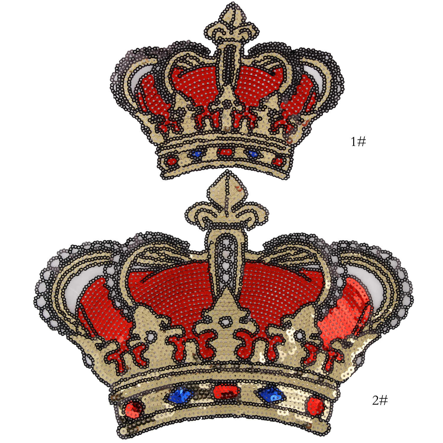 Large Red And Gold Sequin Crown Patch