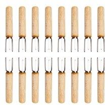 Botique-16 шт. набор 304 Нержавеющая сталь Кукуруза барбекю держатели вилка для барбекю Портативный ГОВЯЖЬЯ колбаса фруктовая ручка деревянная вилка