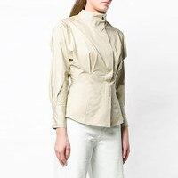 Runway Elegant Tunic Women Green Blouses Shirt 2019 Summer Long Sleeve Formal Ladies Party Slim Blouse Tops Clothes
