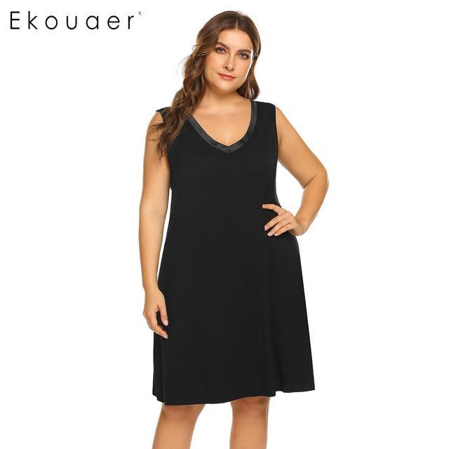 Ekouaer Plus Size Sleepshirts Nightgown Dress Women Nightdress Sleepwear  V-Neck Sleeveless Nightwear Chemise Dress f71f648de
