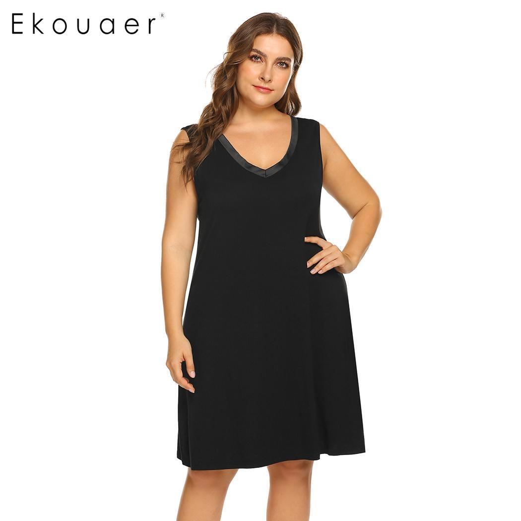 Ekouaer Plus Size   Sleepshirts     Nightgown   Dress Women Nightdress Sleepwear V-Neck Sleeveless Nightwear Chemise Dress XL-5XL