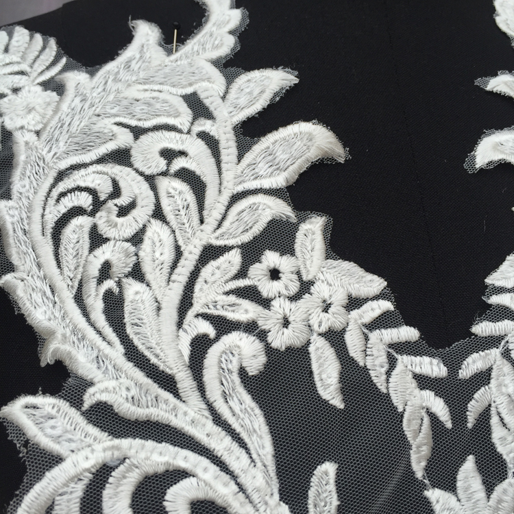 Exquisite Paillette Embroidery Tulle Lace Sexy Chest V Word Neckline Applique DIY Wedding Dress Model Full Lining Accessories in Lace from Home Garden