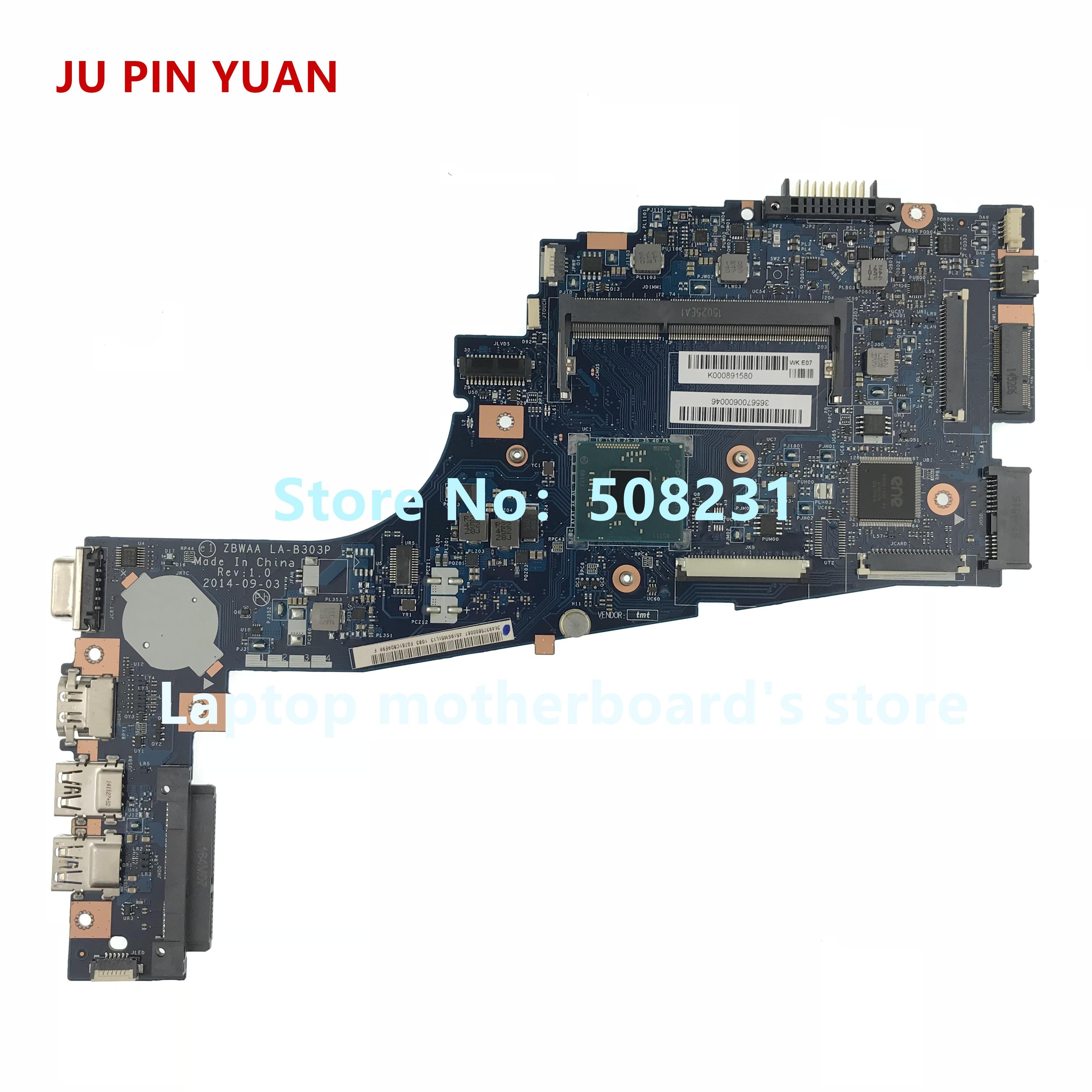 JU PIN YUAN ZBWAA LA-B303P Laptop Motherboard For Toshiba Satellite C55-B5202 C55-B Mainboard With N2840 Cpu