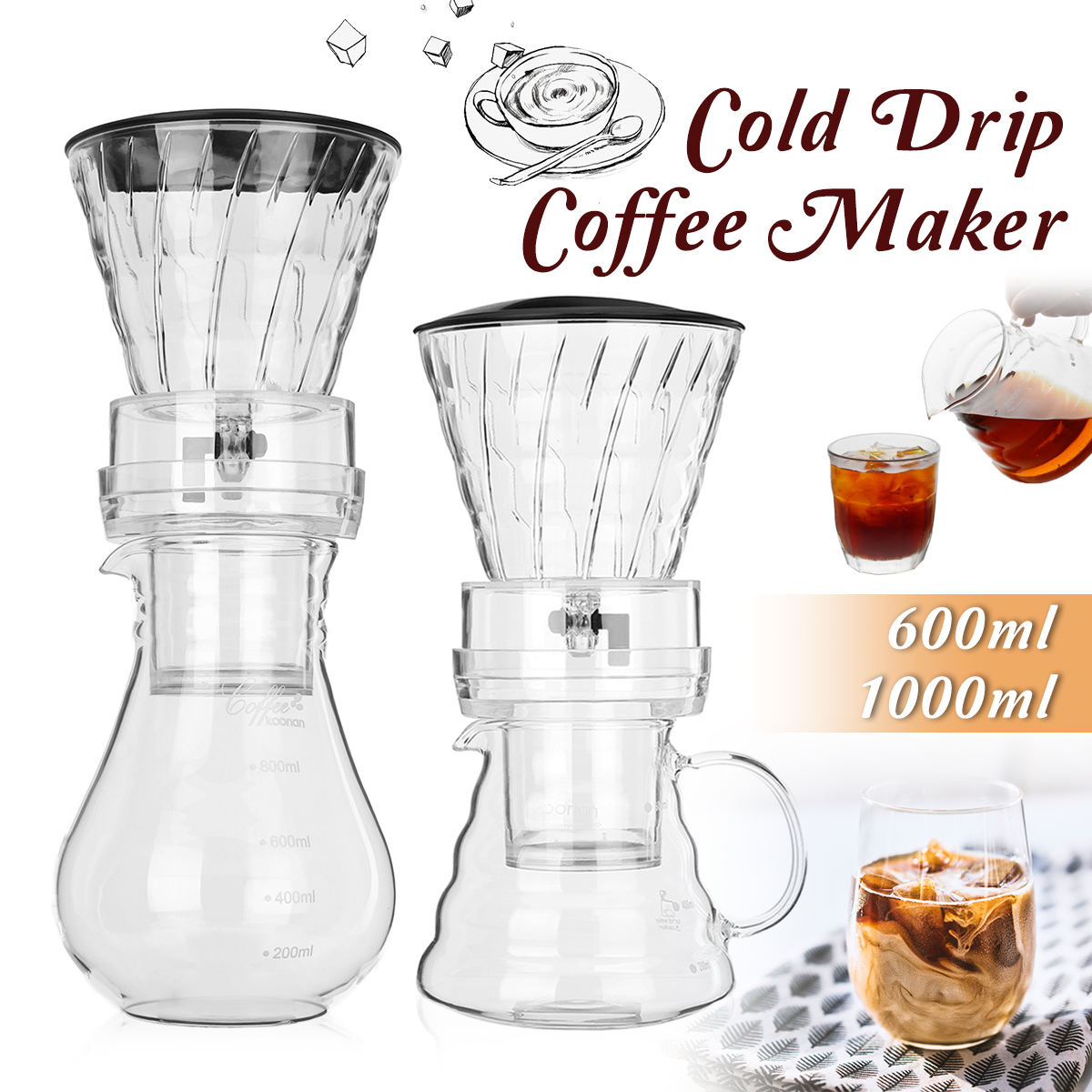 600ml/1000ml Water Drip Coffee Machine Reusable Filter Tools Glass Espresso Coffee Dripper Pot Ice Brew Cold Drip Coffee Maker portable coffee maker glass espresso drip coffee pot reusable filter tools ice cold brew percolators coffee machine