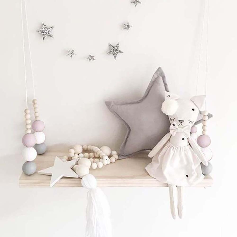 Wooden Beads Tassels Board Wall Hanging Storage Shelf Kids Girl Room Decor Gifts
