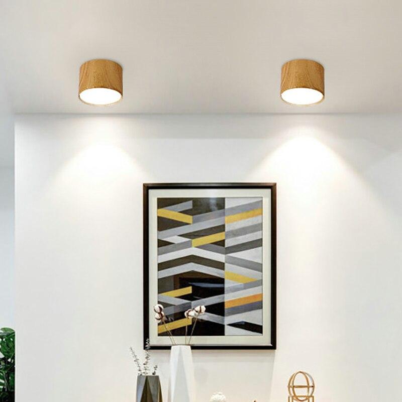 Bozz'art Nordique Style led plafonnier Bois Rond Bureau Hôtel Allée Couloir Balcon 9 W/12 W/15 W /18 W Downlight Spot light