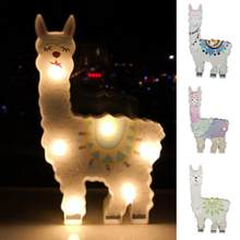 6 leds Night Lamp Hanging Desktop Battery Powered Cute Light Gift Bedside Path Alpaca Shape Decorative dragon animal style(China)