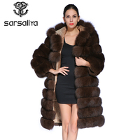 SARSALLYA New Fashion Detachable Sleeve Coat Real Genuine Natural Blue Fox Fur Long Coats Jacket for Women Winter Vest Gilet