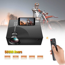 LCD Projector Full HD LED Projector Can Synchronize Smart Phone Screen 1080P Support HD/ USB/ VGA/ AV/ Headphone/ SD Card Input(China)