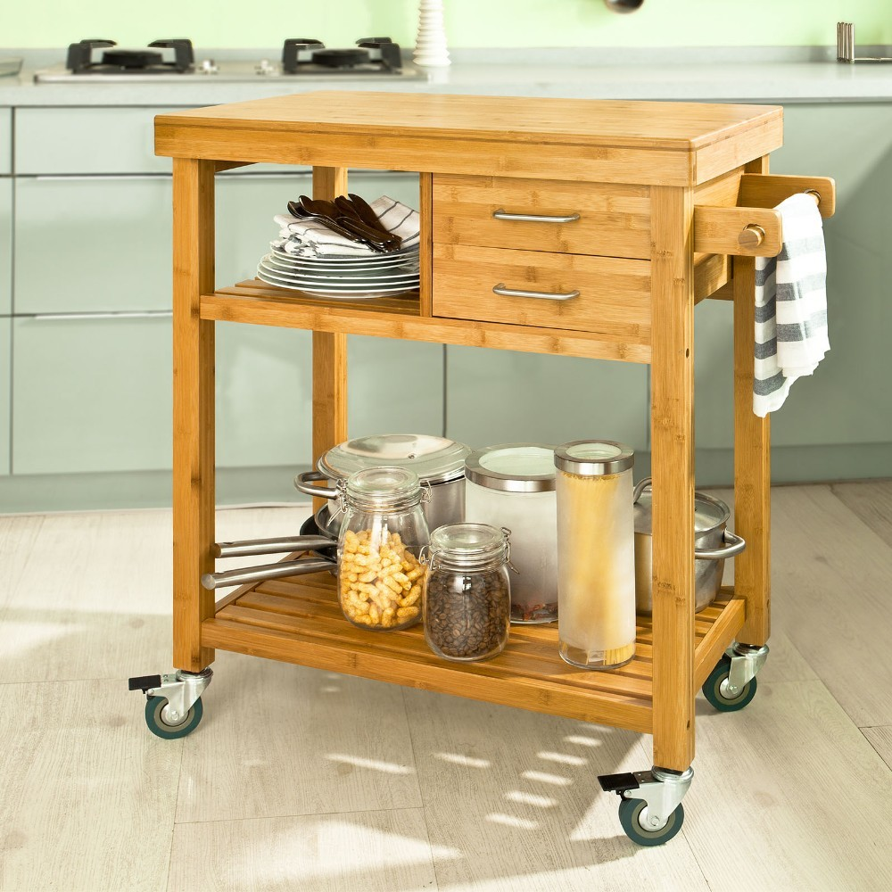 Sobuy Fkw26 N Bamboo Storage Trolley Serving Trolley Kitchen Cart 2 Drawers And Shelves