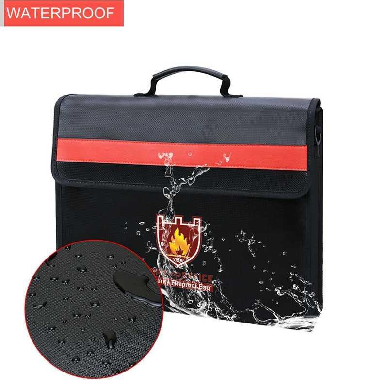 Огнеупорный мешок для документов не-зуд стекловолокна ткань водонепроницаемый держатель с плечевым ремнем ручка сумка