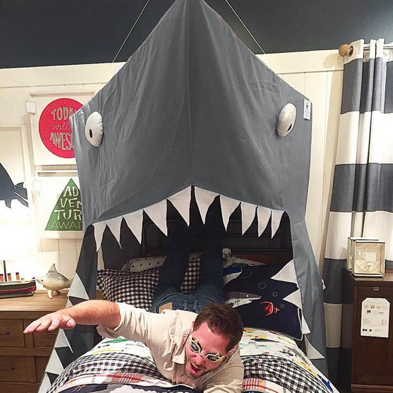 Requin auvent nouveau-né bébé nouveau créatif grandir tente enfants lit Net enfants chambre décoration lit rideau berceau filet